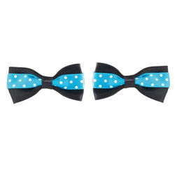 POLKA DOT BOWS - BLACK/BLUE - 2-PACK (Aria)
