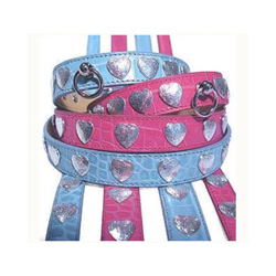 Exclusive Italian Leather Collar & Leash Set - Blu