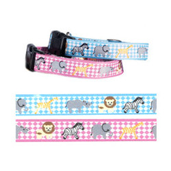 Puppy Collar & Leash Set Zoo - Pink
