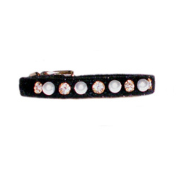 Velvet Pearls & Rhinestones Collar - Black