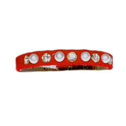 Velvet Pearls & Rhinestones Collar - Red