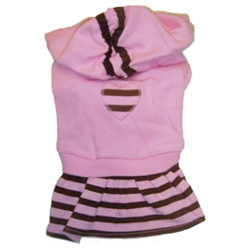 HOOD DRESS - PINK WITH BROWN STRIPES (Monkey Daze )