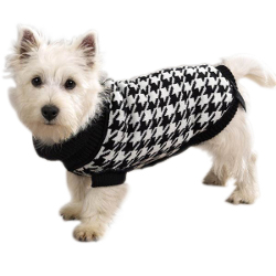 Houndstooth Knit Turtleneck - Black/White