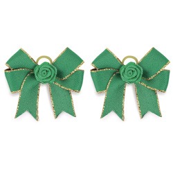 FANCY BOWS - GREEN & GOLD - 2-PACK (Aria)