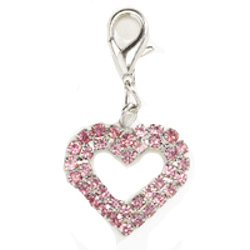 CRYSTAL HEART CHARM - LARGE - PINK ()