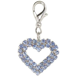 CRYSTAL HEART CHARM - LARGE - BLUE ()