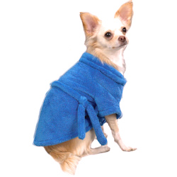 SOFT CHENILLE BATHROBE - BLUE (Casual Canine)