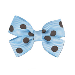 Polka Dot Bows - Blue/Brown