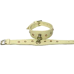 Leather Rhinestones Collar - Cream with Pink Rhine