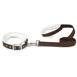 SHERPA COLLAR & LEASH SET - CHOCOLATE BROWN (ESC)