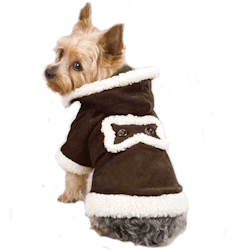 SHERPA/SUEDE COAT WITH HOOD  - CHOCOLATE BROWN (ESC)