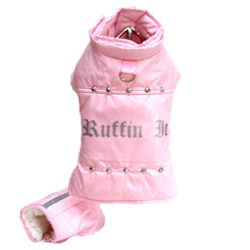 """RUFFIN IT"" PARKA COAT - PINK (Doggie Design)"