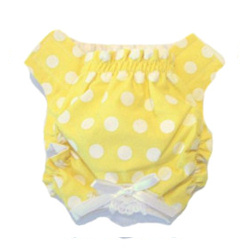 PANTIES - YELLOW WITH WHITE DOTS (Doggie Design)