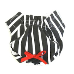 PANTIES - BLACK & WHITE STRIPES (Doggie Design)