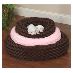 Swirl Plush Donut Bed - Brown