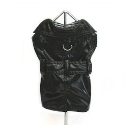 Black Shiny Rain Coat with Striped lining