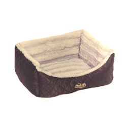 Exclusive Quilted Dog Bed - Brown SMALL