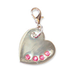 SHINY SILVER HEART CHARM - PINK STONES ()