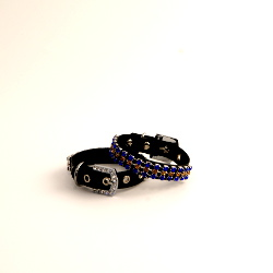 Leather Collar with Rhinestones - Black