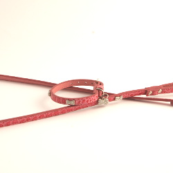 Exclusive Leather Collar & Leash Set - Pink