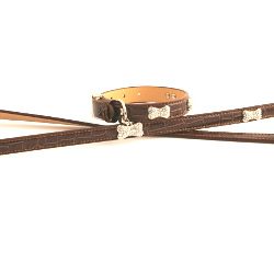 EXCLUSIVE LEATHER COLLAR & LEASH SET - BROWN (Doggie Design)