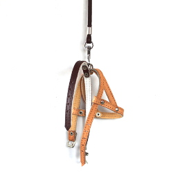 Leather Collar & Harness & Leash Set - Brown/beige