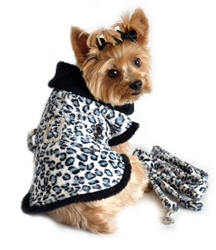 FLEECE WITH MATCHING LEASH - LEOPARD (Doggie Design)