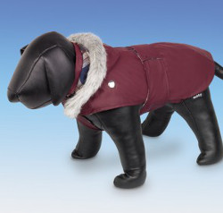 Dog Coat with Belt - Bordeaux
