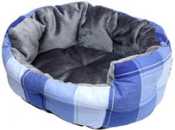 CHECKERED DOG BED - BLUE ()