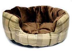 CHECKERED DOG BED - BROWN ()