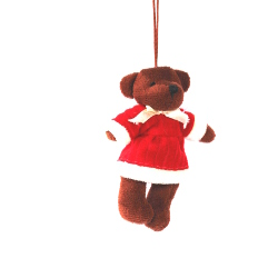 Christmas Bear with Santa Clothes - Brown