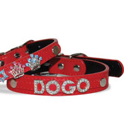 LEATHER COLLAR FOR CHARM LETTERS - RED (DOGO)