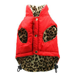 REVERSIBLE PUFFER VEST - LEOPARD/RED (Hip Doggie)