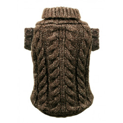 CABLE KNIT SWEATER - CHOCOLATE (Hip Doggie)
