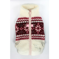 SOFT SNOWFLAKE FLEECE VEST - WHITE/RED (Hip Doggie)