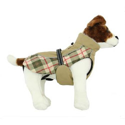 ALL WEATHER DOG COAT - BEIGE PLAID (Doggie Design)