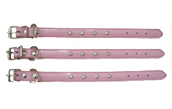 Genuine Leather & Rhinestones Collar - Pink