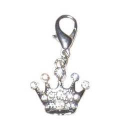 CHARM SILVER CROWN - CLEAR STONES (DOGO)