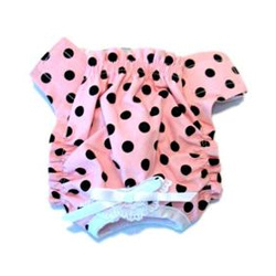 PANTIES - PINK WITH BLACK DOTS (Doggie Design)